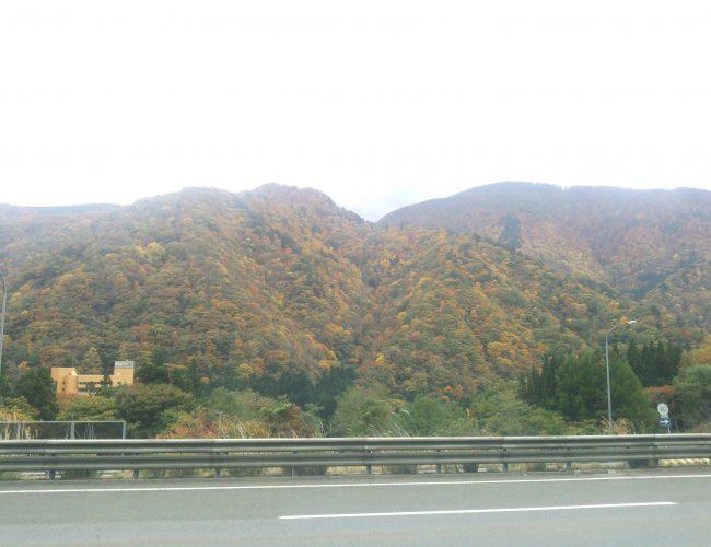 湯瀬のPAがら山の方見だら紅葉見えだす。