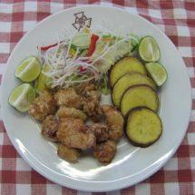 地産地消レシピ№11:比内地鶏の唐揚げ、さつまいもの天ぷら